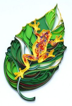 Quilled Frog on Leaf, Created by Natasha Molotkova of PaperGraphic