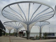 Outstanding Achievement Award for tensile structures more than sq.m: Comercial Centre Vergers De La Plaine (Chambourcy, France) Film Structure, Tree Structure, Membrane Structure, Shade Structure, Deck With Pergola, Covered Pergola, Pergola Kits, Pergola Designs, Urban Furniture