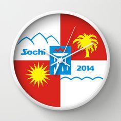 Sochi 2014 flag - Authentic version Wall Clock Wall Clocks, Flag, Chart, Olympics, Flags, Clock Wall