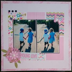 """Scrapbook layout by Beth Moloney using Bella Blvd """"Kiss me"""" collection"""