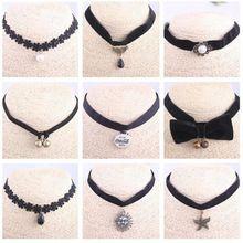 1b9dcb0cb36c Harajuku retro goth emo chocker cuello de encaje banda para el cuello de  terciopelo femenina cadena