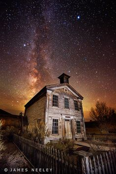 The old Bannack School House and Masonic Lodge, under Milky Way, Montana. Bannack was the capital of Montana territory for a time... it's been a ghost town since the 1970's.