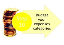 Step 10: Budget your expenses categories