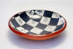 Rae Tamashausky NJ Studio Potter Oxford Earthenware Slip Painted Serving Bowl Art Ceramics Redware Clay New Jersey Fine Art