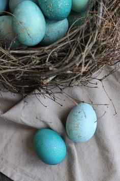 Еще чуть-чуть, буквально неделька осталась до Пасхи! И нам уже пора готовиться, украшать дом, красить яйца. Сегодня мне хочется рассказать вам о том, как получить пасхальные яйца всех оттенков сине-голубого цвета с милыми золотистыми крапинками. И использовать для этого натуральный краситель, так как только Матушка-Природа может подарить такой красивый цвет.