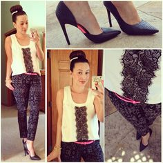 Banana Republic silk and lace tank, Black Printed ankle pants, L.A.M.B Camryn pumps, neon pink skinny belt, hot bun, black and white