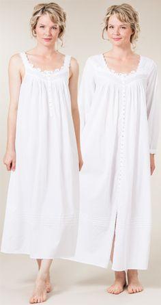 Eileen West Peignoir Set Cotton Sleeveless Dover White Gown and Robe