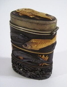 Japanese matchsafe made from fuchi. Shakudo