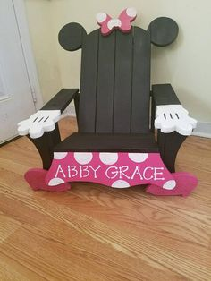 Handcrafted character Chairs for your little Minnie or Mickey! Additional Color & Customize Options are Available.
