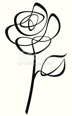 Two credits line art drawing of a Rose. The leaf is a separate object and can be removed.