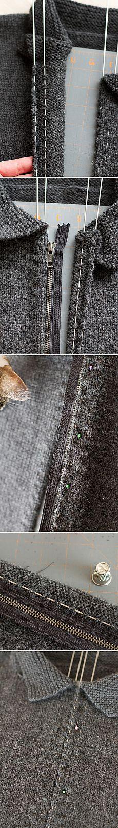 Splityarn »Blog Archive» simple knitted sweater zipper install ever