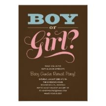 Baby gender reveal party invitations.