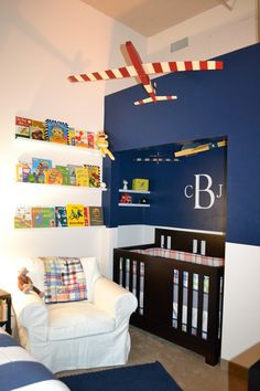 great idea for a shared boy room- looks like they converted the closet into a cozy spot for the crib- big boy bed in the other corner- cute!