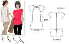 Woven top sewing pattern for women in sizes 8, 10, and 12 designed for woven fabric. PDF pattern for instant download. See size chart in the Gallery to choose your correct size! Sizes 4 - 30 are available in our store. Other sizes available here: www.etsy.com/shop/StyleArc/search?search_query=rosie+top  The Rosie Top is a great top for all occasions. The slight cap sleeve is very flattering and the back inverted pleat gives this top a point of difference.  *** 19 - 21 pattern tile pages…
