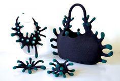 Felt art by ::taneno.::a bag and assembling jewelries - produced by Atsuko Sasaki Nuno Felting, Needle Felting, Felt Bracelet, Creative Bag, Felt Crafts Diy, Fabric Handbags, Textile Artists, Felt Art, Polymer Clay Jewelry