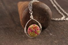 Wooden Button Pendant Necklace - Pink, Orange, Green and Creme Flower