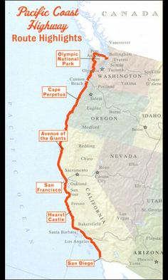 Pacific Coast Highway Road Trip. Seattle to San Diego. Hope to do this someday.