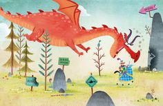 There Was an Old Dragon who Swallowed a Knight illustration by Ben Mantle. Book written by Penny Parker Klostermann