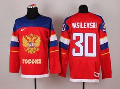 2014 Sochi Winter Olympic Team Russia 30 Andrei VASILEVSKI Red Jersey