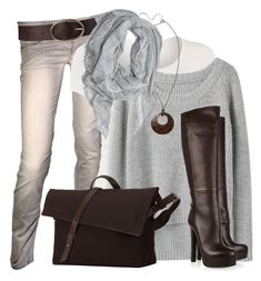 Grey & Brown by wishlist123 on Polyvore featuring polyvore moda style rag & bone Linea Armani Jeans Gucci Fat Face Lands' End Seventy Eight Percent women's clothing women's fashion women female woman misses juniors