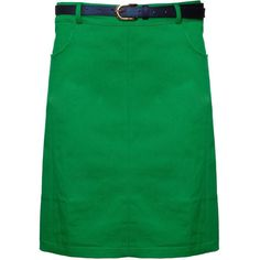 Yumi Belted pencil skirt ($19) ❤ liked on Polyvore featuring skirts, green, women, pencil skirt, belted skirt, pocket skirt, green cotton skirt and green skirt