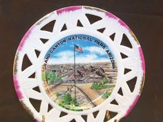 Grand Canyon National Park Arizona Ceramic Collector Souvenir Plate Open Edge Gold & Mauve Trim by GarageSaleGlass, $15.99