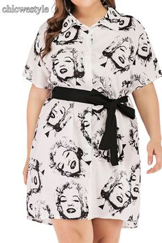 Chiczz Plus Size Commuting Turndown Collar Short Sleeve Printed Colour Dress Plus Size Spring Dresses, Casual Dresses Plus Size, Spring Dresses Casual, Short Dresses, Dress Casual, Casual Outfits, Dress Outfits, Fashion Outfits, Dress Brands