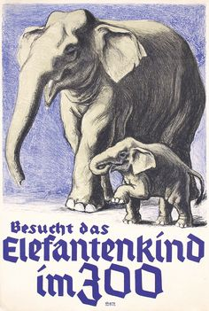 VINTAGE VISIT THE ZOO ELEPHANT A4 POSTER PRINT