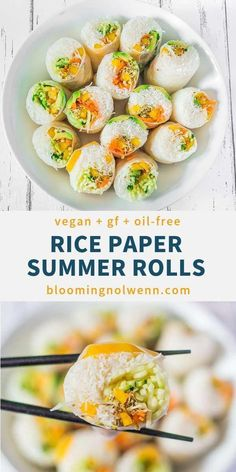 Vegan Rice Paper Summer Rolls: a very easy and delicious recipe for vegan spring rolls filled with colorful vegetables. Perfect for a healthy vegan lunch or dinner and great for meal prep! The post Vegan Rice Paper Summer Rolls Vegan Appetizers, Vegan Dinner Recipes, Vegan Dinners, Vegetarian Recipes, Healthy Recipes, Recipes For Lunch, Healthy Dishes, Rice Recipes, Healthy Meals