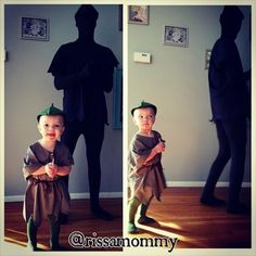 Peter Pan and Peter Pan's shadow. | 30 Parent And Child Costume Ideas To Steal This Halloween