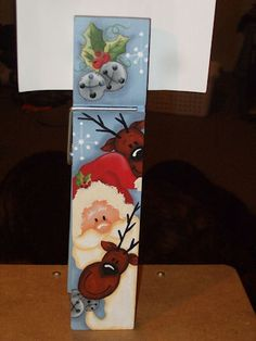 Santa's Reindeer-Holiday, recipe holder, painting, patterns, santa, reindeer, Christmas, decorations