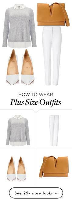 featuring Studio ESCADA, Christian Louboutin and Jil Sander Mode Outfits, Office Outfits, Casual Outfits, Layering Outfits, Office Fashion, Work Fashion, Fashion Looks, Casual Chique, Mode Plus