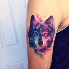 Galaxy wolf tattoo by Adrian Bascur