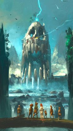 This image gave me the idea of possiblely adding some kind of giant construct with a beautiful view of a waterfall/river.
