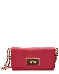 """Love the color (my pink - leather fetish is showing!): FENDI """"Claudia Pequin"""" Leather Shoulder Bag"""