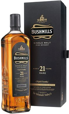 Bushmills 21 Year Old Single Malt Irish Whiskey.  Aged for 19 years in ex-American #bourbon and ex-Spanish sherry casks, this rare Irish #whiskey is then married together for an additional two years in madeira-infused casks. | @Caskers