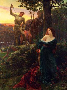 Frank Dicksee (Francis Bernard Dicksee) (1853–1928, Engand) Medievalist paintings.  incipit