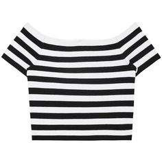 Womens Crop Tops Alice + Olivia Grant Off-the-shoulder Jersey Top (€335) ❤ liked on Polyvore featuring tops, crop top, t-shirts, off shoulder crop top, black white striped top, black and white striped top and black white stripe top