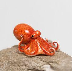 Octopus Figurine OOAK Handmade Polymer Clay by RamalamaCreatures