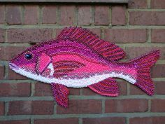 Items similar to mardi gras bead pink fish - made to order on Etsy Mosaic Crafts, Mosaic Art, Bead Crafts, Pink Fish, Beadwork Designs, Mardi Gras Beads, Seed Bead Jewelry, Fish Art, Bead Art