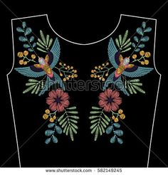 Embroidery stitches with spring swallow bird, wild flowers for neckline. Vector fashion ornament on black background for textile, fabric traditional folk decoration