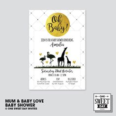 Printable Baby Shower Invitation, gender neutral, animals, monochrome, black white gold, mum & baby animal, Modern Invite, DIY…