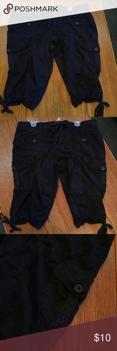 Stretchy black cargo capris Black comfy stretch cargo shorts from Arizona cute lace trim on pockets ties by the calves Arizona Jean Company Shorts Cargos