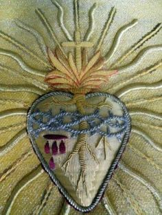 Antique French metallic embroidery sacred heart.