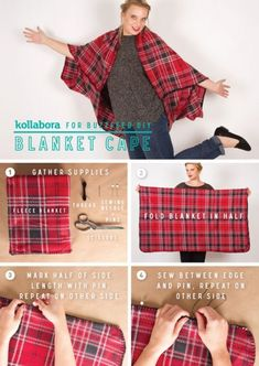 DIY Blanket Cape 2019 DIY Blanket Cape Nothing says autumn like tried-and true plaid. This DIY fleece cape will help you transition seasons in style. The post DIY Blanket Cape 2019 appeared first on Scarves Diy. Sewing Hacks, Sewing Tutorials, Sewing Crafts, Sewing Projects, Sewing Patterns, Skirt Patterns, Costume Patterns, Dress Tutorials, Blanket Patterns
