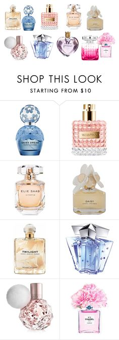"""perfume"" by grandpasgirl55 on Polyvore featuring beauty, Marc Jacobs, Elie Saab, Marc by Marc Jacobs, Sarah Jessica Parker, Jimmy Choo, Vera Wang, Thierry Mugler and Chanel"