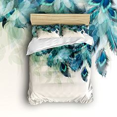 Anzona 4 Piece Bedding Set Lightweight Microfiber Duvet Cover Sets, Artistic Hand Painted Peacock Feathers Design, Comfortable Breathable and Soft Comforter Cover Set for Children/Kids/Teens/Adults Teal Bedding Sets, Peacock Bedding, Comforter Cover, Soft Duvet Covers, Duvet Cover Sets, Feather Design, Peacock Feathers, Room Themes, Comforters