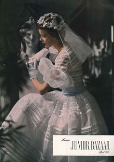 1950s wedding dress with white gloves and a daisy headdress from Harper's Junior Bazaar April 1950.