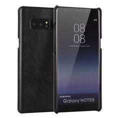 Samsung Galaxy Note 8 Genuine Leather Matte Back Cover Case Black