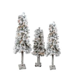 Set of 3 Pre-Lit Flocked Woodland Alpine Artificial Christmas Trees 3' 4' and 5' - Clear Lights